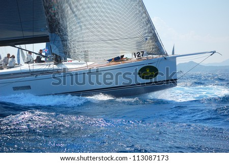 PORTO CERVO, ITALY - SEPTEMBER 12:  Sailing team compete in the  Rolex Swan Cup boat race on September 12, 2012 in Porto Cervo, Italy. - stock photo