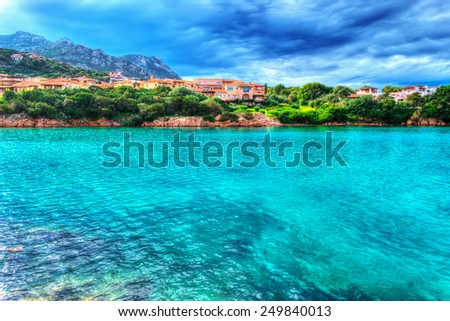 Porto Cervo shore on a cloudy day. Shot in Costa Smeralda, Italy. Processed for hdr tone mapping effect - stock photo