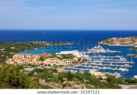 Porto cervo town and harbour - stock photo