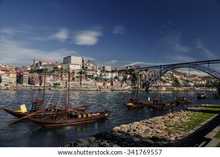 Porto cityscape on the Douro River, Portugal - stock photo