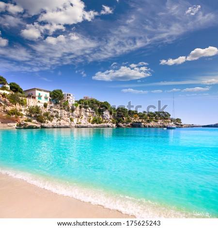 Porto Cristo beach in Manacor Majorca Mallorca Balearic islands - stock photo