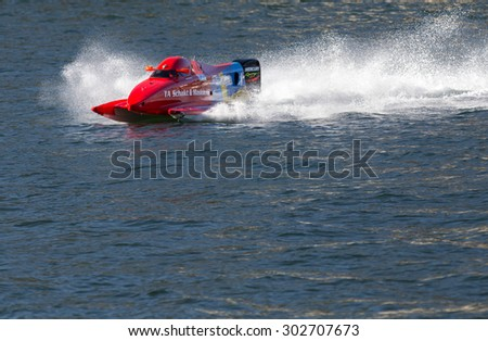 PORTO - GAIA, PORTUGAL - AUGUST 2, 2015: Jonas Andersson (SWE) during the U.I.M. F1H2O World Championship in Porto & Gaia, Portugal. - stock photo