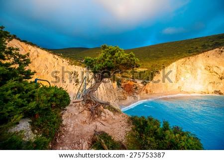 Porto Katsiki coast on Lefkada island in Greece on the sunset - stock photo