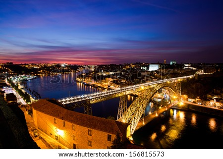 Porto Old City, Douro River and Dom Luis Bridge (Ponte de Dom Luis I) night scene, from Mosteiro da Serra do Pilar, Porto, Portugal - stock photo