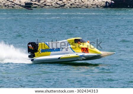 PORTO, PORTUGAL - AUGUST 1, 2015: Francesco Cantando (ITA) during the U.I.M. F1H2O World Championship in Porto, Portugal. - stock photo