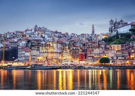 Porto, Portugal cityscape across the Douro River. - stock photo