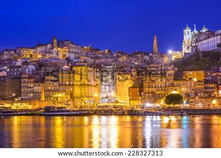 Porto, Portugal cityscape across the Douro River. - stock photo