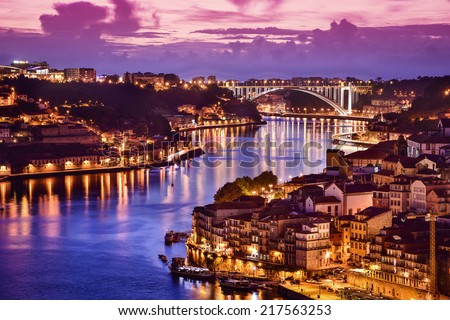 Porto, Portugal cityscape on the Douro River. - stock photo