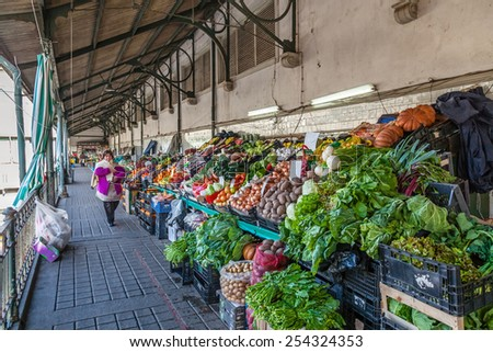 Porto, Portugal. December 29, 2014: Interior of the historical Bolhao Market, with fresh food for sale - stock photo