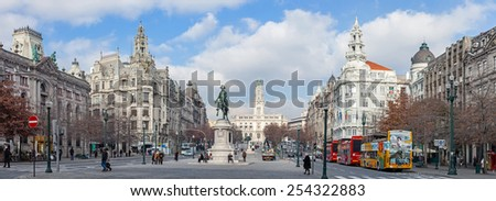 Porto, Portugal. January 5, 2015: The busy Aliados Avenue with the City Hall of Porto located at the top and the BBVA bank on the right - stock photo