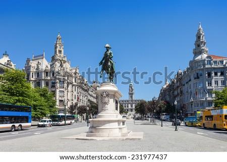 PORTO, PORTUGAL - JULY 12: Liberdade Square on July 12, 2014 in Porto, Portugal - stock photo