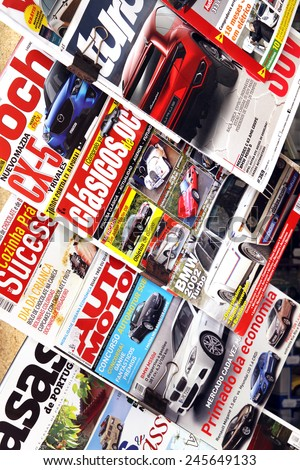 PORTO, PORTUGAL - JUNE 1, 2012: Magazines about sports cars and racing on the stand - stock photo