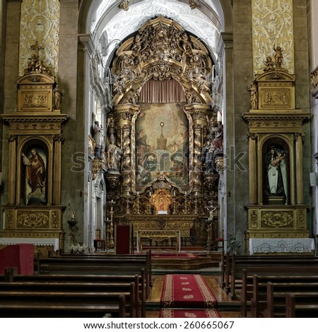 Porto, Portugal - March 4, 2015: Altar of St. Nicholas Church, goldsmiths brotherhood home. Church from XVII century, rebuilt in the eighteenth century. Neoclassical and baroque style. - stock photo