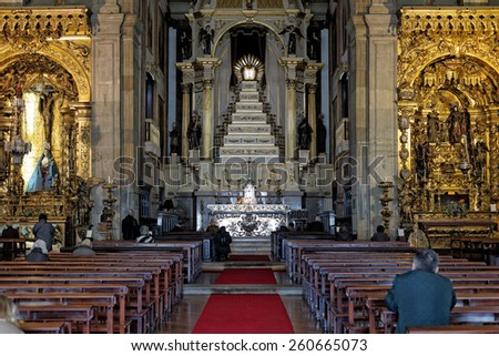 Porto, Portugal - March 4, 2015: Santo Antonio dos Congregados church, built in the beginning of the eighteenth century. Church photographed in the period of Lent. High ISO photo. - stock photo
