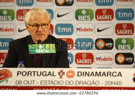 PORTO, PORTUGAL - OCTOBER 8: Morten Olsen (DEN), Denmark's National Team coach, at conference room after Euro 2012 Group Stage Qualifying match against Portugal on October 8, 2010 in Porto, Portugal - stock photo