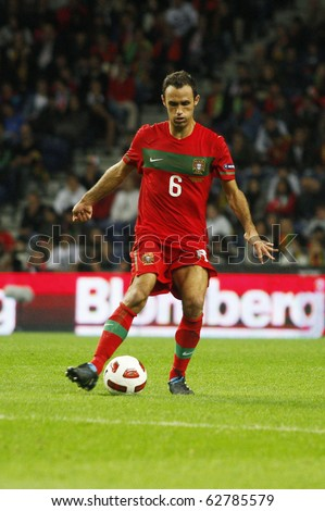 PORTO, PORTUGAL - OCTOBER 8: Ricardo Carvalho (POR) controls the ball in the Euro 2012 Group Stage Qualifying match against Denmark on October 8, 2010 in Porto, Portugal - stock photo