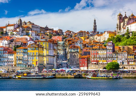Porto, Portugal old town skyline from across the Douro River. - stock photo