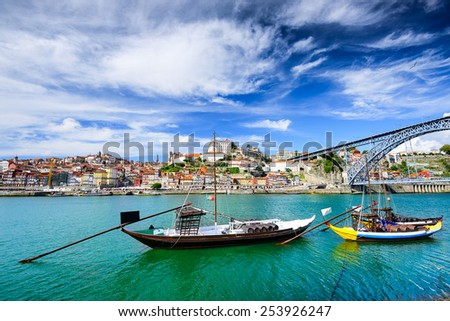 Porto, Portugal old town view on the Douro River with rabelo boats. - stock photo