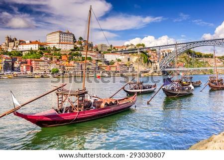 Porto, Portugal on the Douro River. - stock photo