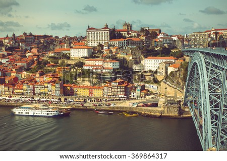 Porto view of Douroâ??s riverbank river near Luis I bridge. - stock photo