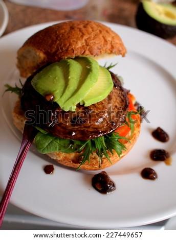 portobello-mushroom burger - stock photo