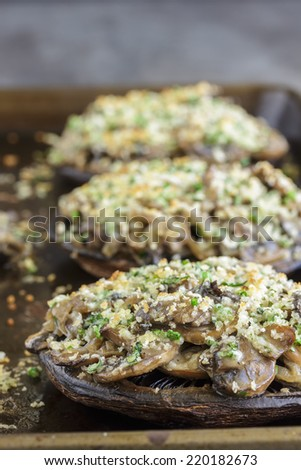 Portobello mushroom caps filled with shallots and cremini mushroom in a white wine cream sauce, broiled with a parmesan, chive and cilantro panko topping - stock photo