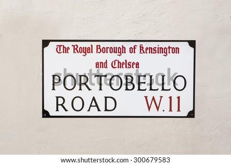 Portobello Road road street plate in London, UK. - stock photo