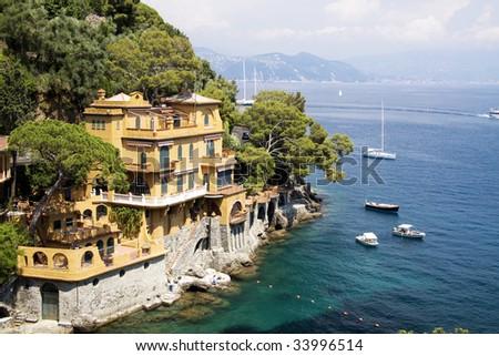Portofino coast line - stock photo