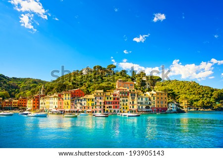 Portofino luxury landmark panorama. Village and yacht in little bay harbor. Liguria, Italy - stock photo