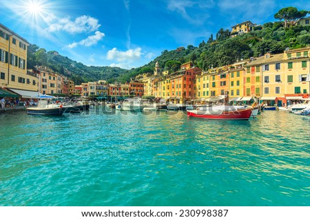 Portofino panorama,luxury harbor and colorful houses,Liguria,Italy,Europe - stock photo
