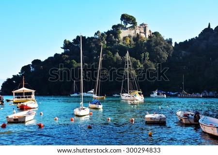 Portofino town Italy Ligurian coast architecture and boats landscape - stock photo