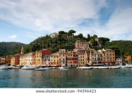 Portofino yacht port and luxury villas at the  hill, Italy , Liguria - stock photo