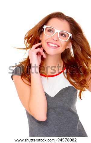 Portraif of young woman wearing modern glasses on white - stock photo