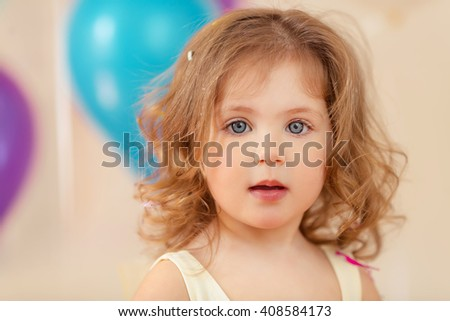 Portrain of happy young girl celebrate birthday - stock photo