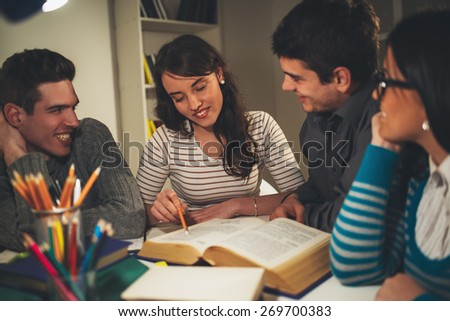 Portrait a beautiful smiling girl learning with a her friends. Vintage concept. - stock photo