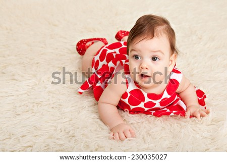 Portrait adorable baby girl - stock photo