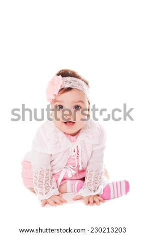 Portrait adorable baby girl on white background - stock photo