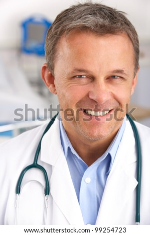 Portrait American doctor on hospital ward - stock photo