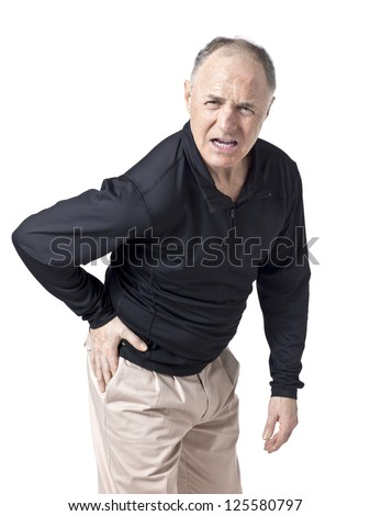 Portrait and close up image of a senior man having a hip pain against white background - stock photo