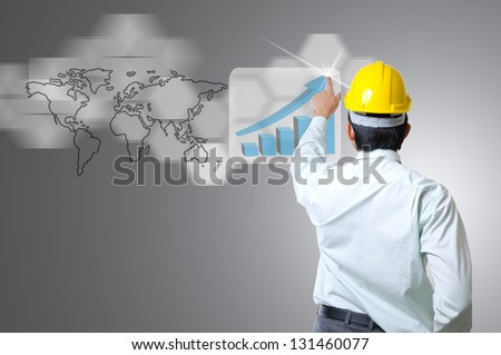 Portrait Asian Engineer pointing something for give some vision to his team - stock photo