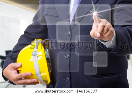 Portrait Asian Engineer with work concept in studio - stock photo