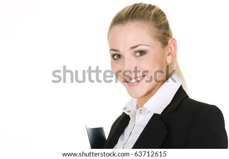 Portrait  attractive business woman with folder over white background - stock photo