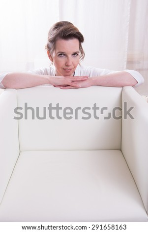 Portrait attractive woman with backlight - stock photo