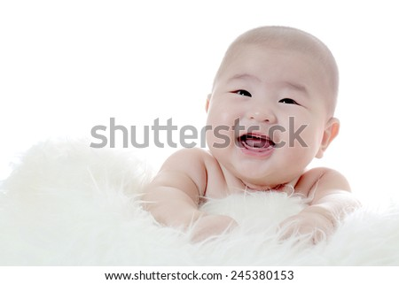 Portrait baby adorable baby looking confused with white background - stock photo