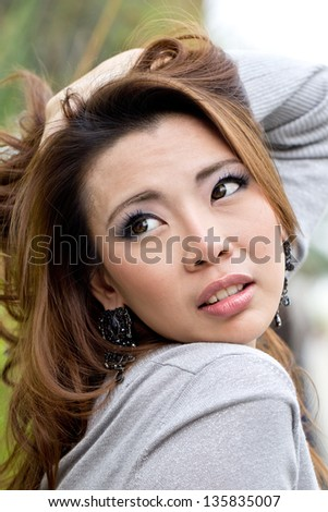 Portrait beautiful Asian Girl with wonderful concept - stock photo
