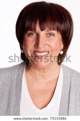 Portrait beautiful happy mature woman - stock photo