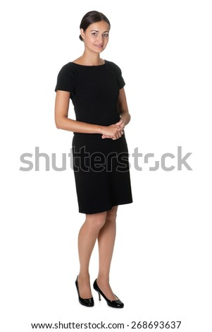 Portrait beautiful young woman standing isolated on white background. - stock photo