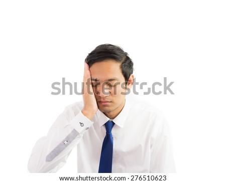 Portrait businessman headache migraine isolate on over white background - stock photo