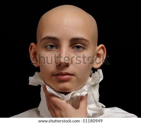 portrait cancer survivor girl on black background, clipping path - stock photo