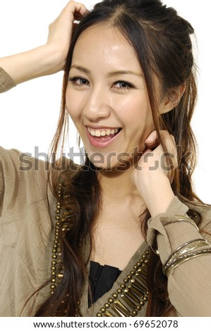 portrait casual woman smiling face - stock photo